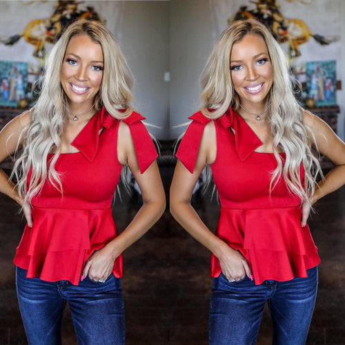 Red One Shoulder Peplum Bow Top