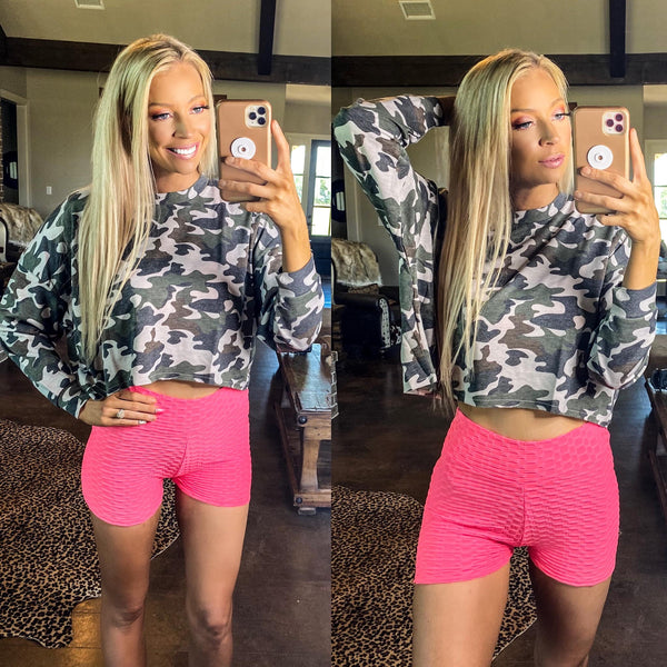 Camo Raw Edge Hem Crop Top - The Lace Cactus