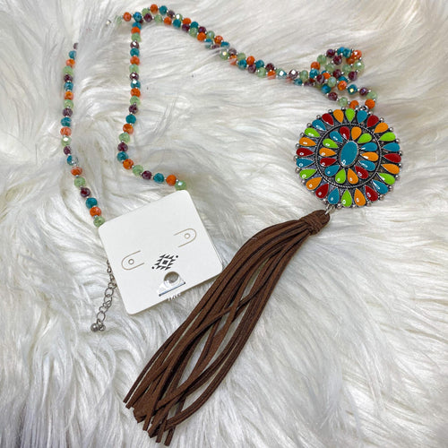 Glass Rainbow Bead Fringe Necklace - The Lace Cactus