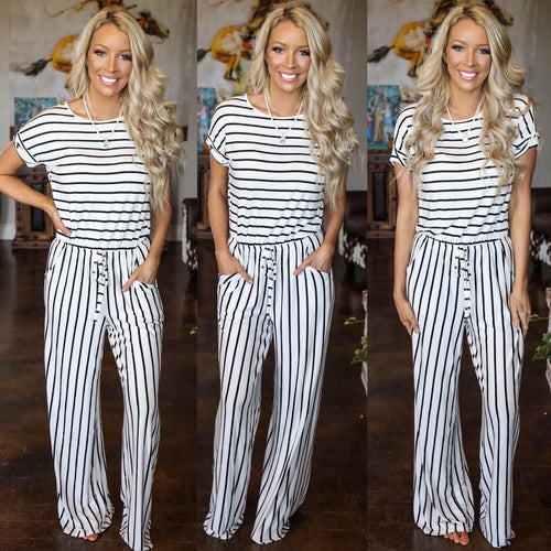 Striped Wide-leg Jumpsuit - The Lace Cactus