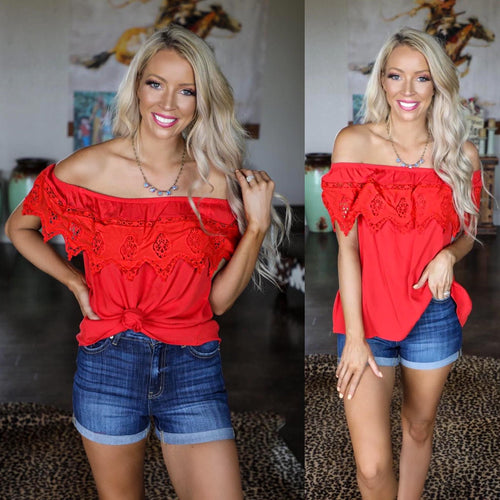 Red Lace Off Shoulder Flounce Top