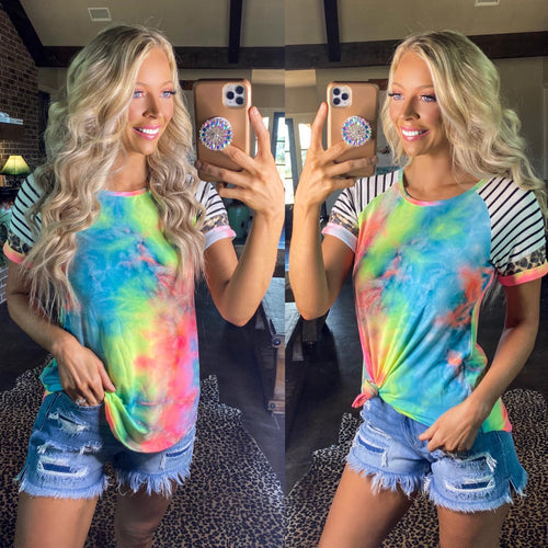 Tie-Dye Striped Raglan Tee