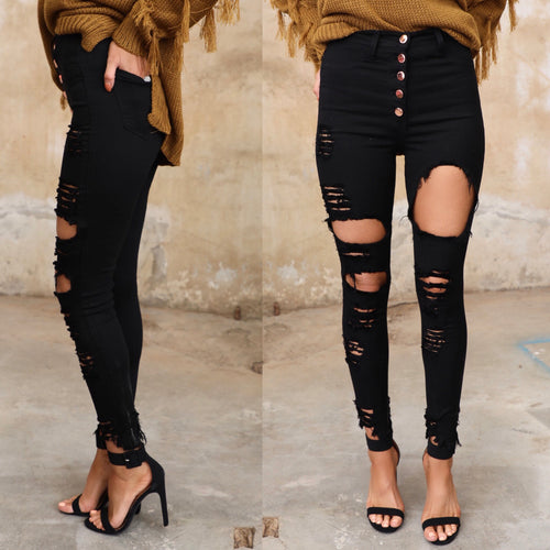 Black 5-Button Distressed Skinny Jeans - The Lace Cactus