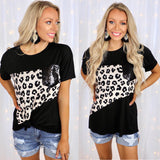 Black, Taupe + Leopard Sequin Pocket Tee - The Lace Cactus