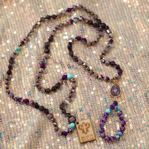 Pink Panache Purple Tone + Natural Stone Open Teardrop Necklace. - The Lace Cactus