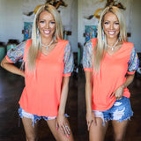 Neon Coral V-Neck Sequin Foil Sleeve Tee