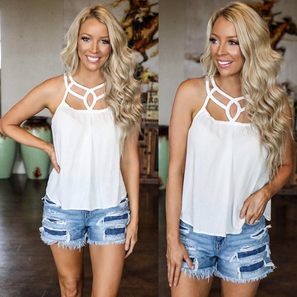 Dainty White Stencil Tank Top - The Lace Cactus