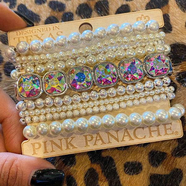 Pink Panache Bling & Pearls Stack Bracelet Set - The Lace Cactus
