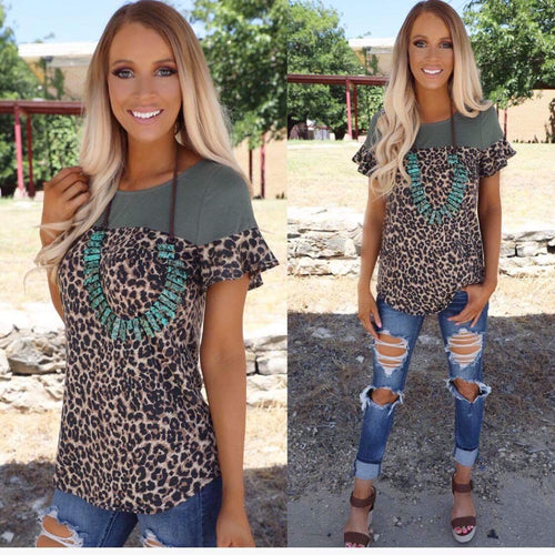 Ohio Olive And Leopard Tee