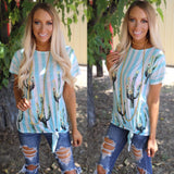 Light Blue Stripes and Cactus Tee