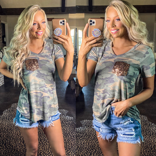 Camo V-Neck Sequin Pocket Tee