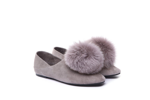 UGG Joyce Ladies Ballet Flats Loafer Moccasins Fluffy Slip On Shoes Kid Suede Pompom Embellished - UGGs Boots Australia