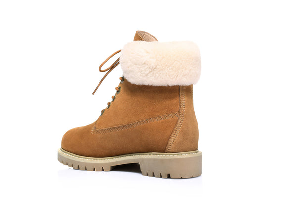 UGG Boots Hope - Ladies Fashion with Front Lace Sheepskin Lining Suede Upper Durable Sole - UGGs Boots Australia
