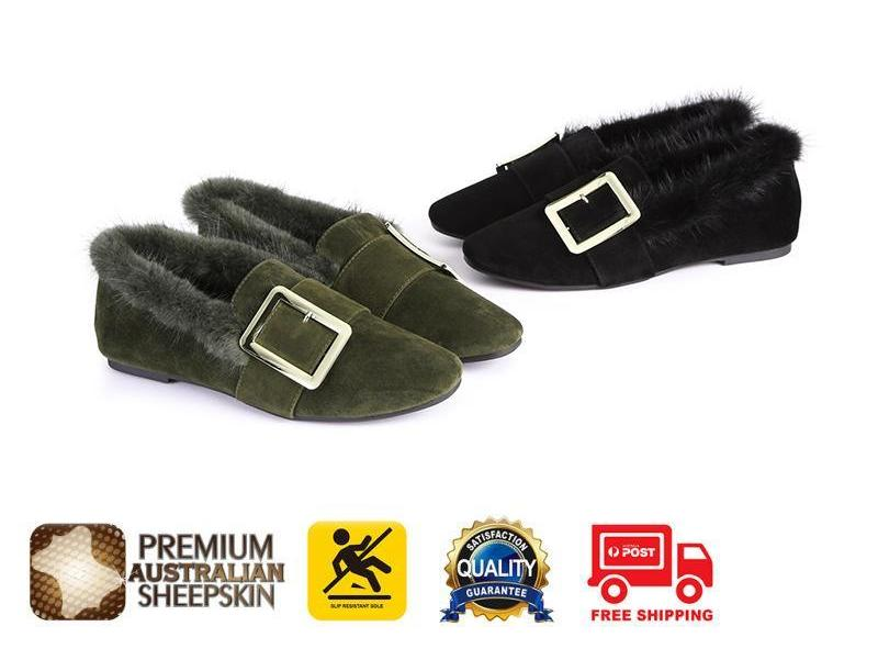 7fb34dd9ce2 UGG Fashion Women Sheepskin Shoes Mia - Casual Square Buckle Moccasins  Loafers