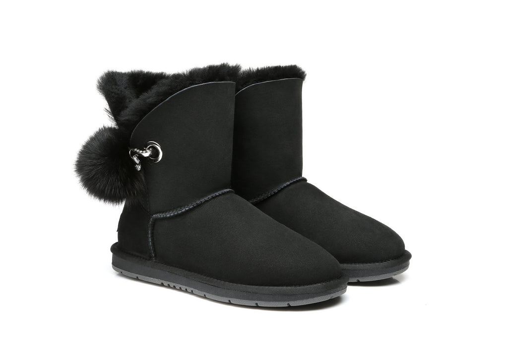 UGG Ladies Short Boots Blakely - Australian Double Face Sheepskin Fox Fur Pom Pom - UGGs