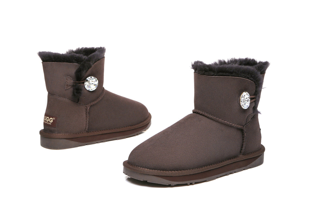2baeba73864 UGG Boots - Ladies Water Resistant Mini Button with Crystal