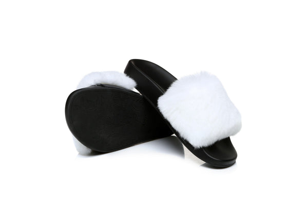 UGG Doris New Fashion Women Cony Rabbit Fur Comfortable Summer Slide Slippers Sandals - UGGs Boots Australia