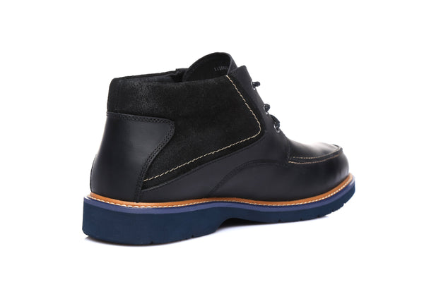 UGG Mens Leather Boots - Mason , Formal Work Causal lace-up Shoes, Sheepskin Lining Water Resistant - UGGs Boots Australia