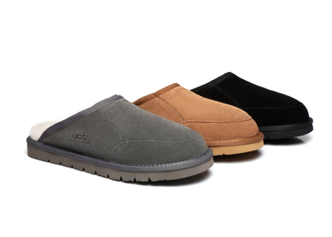 af110615fc1e UGG Water Resistant Men Slippers Scuffs Bred - Suede Upper   Premium  Australian Sheepskin Lining
