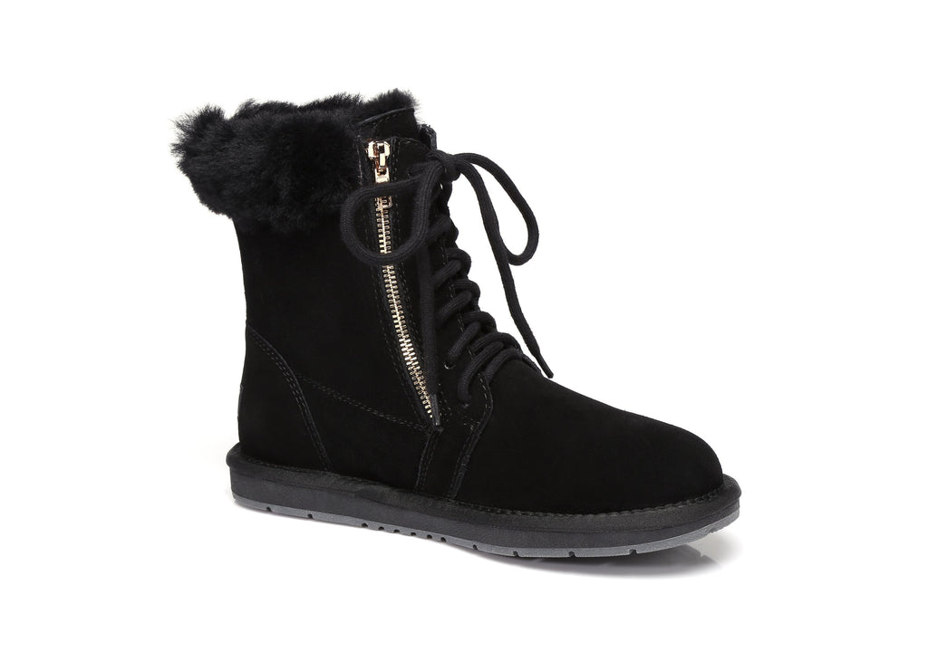 8708fe253e UGG Water Resistant Front Lace Zip Ladies Short Boots - Suede Upper  Australian Sheepskin Lining &