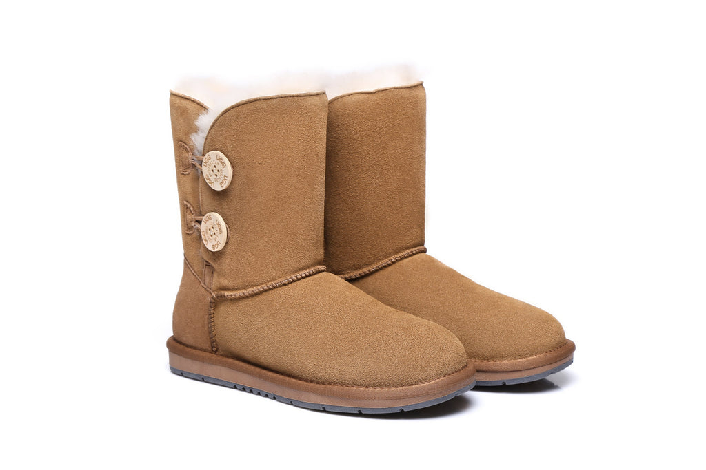 a08403042d449 UGG Water Resistant Twin Buttons Ladies Short Boots - Suede Upper Australian  Sheepskin Lining & Insole
