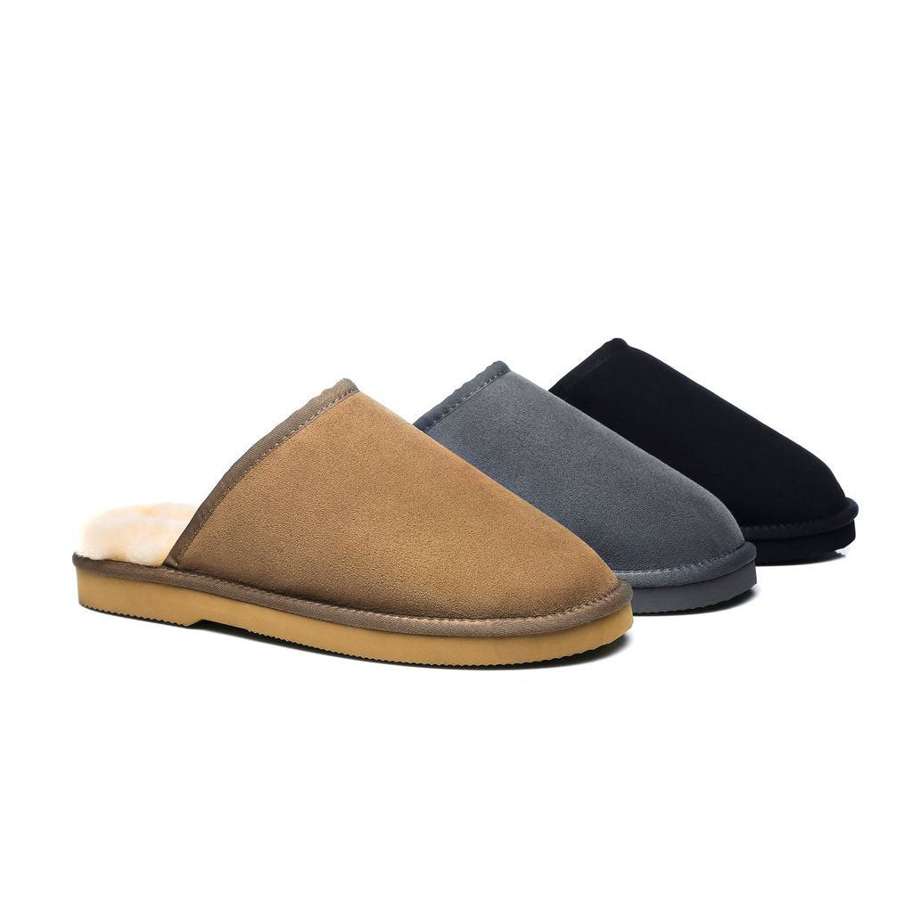 d075a20df7b EVER UGG Mens Fine Wool Scuffs Slippers Premium Australian Double Face  Sheepskin Non Slip Sole