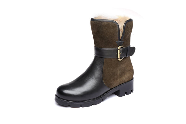 UGG Ladies Short Buckle Boots Lollita - Cow Suede&Leather Upper Australian Sheepskin Lining&Insole - UGGs Boots Australia