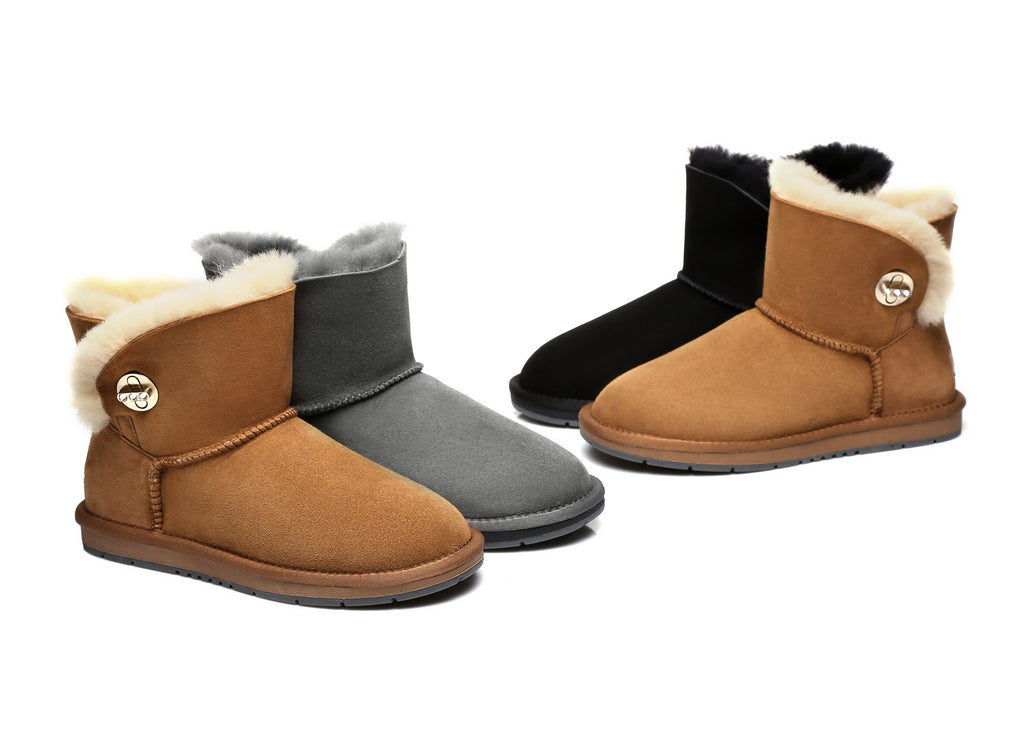 7a1e9ca8a4b UGG Ladies Fashion Metal Turn Button Boots with Crystal - Layton,  Australian Premium Double Face Sheepskin Water Resistant