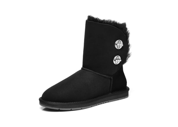 UGG Ladies Fashion Metal Turn Short Button Boots with Crystal - Layton, Australian Premium Double Face Sheepskin Water Resistant - UGGs Boots Australia