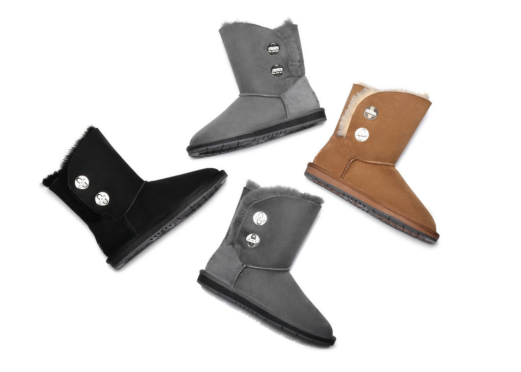 b3a25be4f47 UGG Ladies Fashion Metal Turn Short Button Boots with Crystal - Layton,  Australian Premium Double Face Sheepskin Water Resistant
