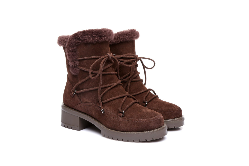 2311d59544f EVER UGG Ladies Fashion Boots Rebecca, Front Lace Side Zip Sheepskin  Lining&Insole Water Resistant