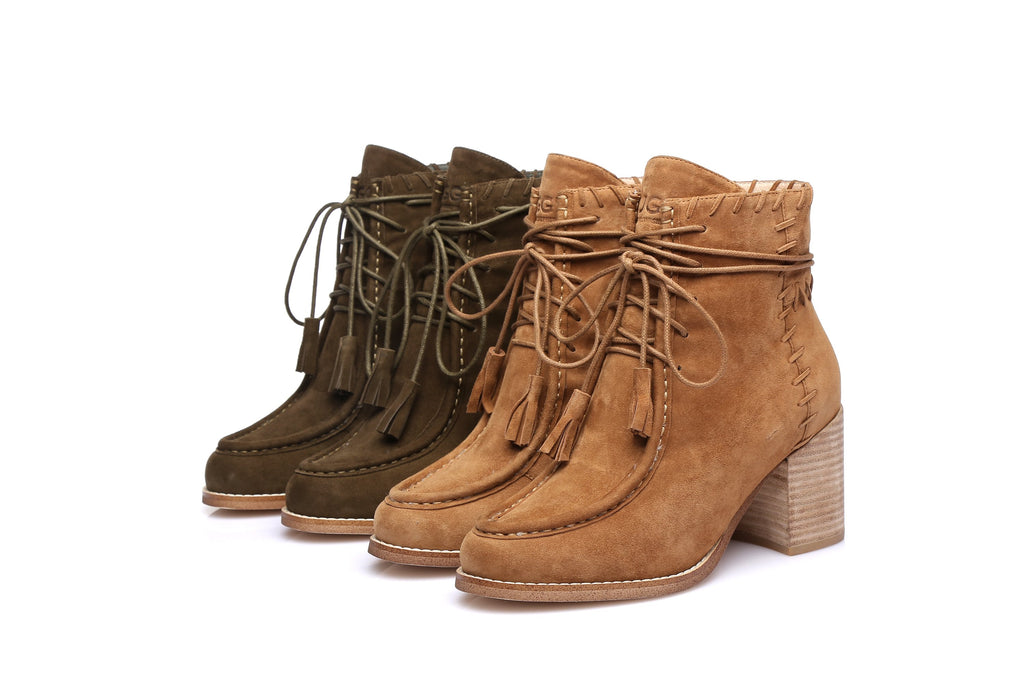 d1b9dd11625 UGG Ladies Fashion Heel Boots sabrina, Front Lace Up Sheepskin  Lining&Insole,Non Slip Rubber Sole