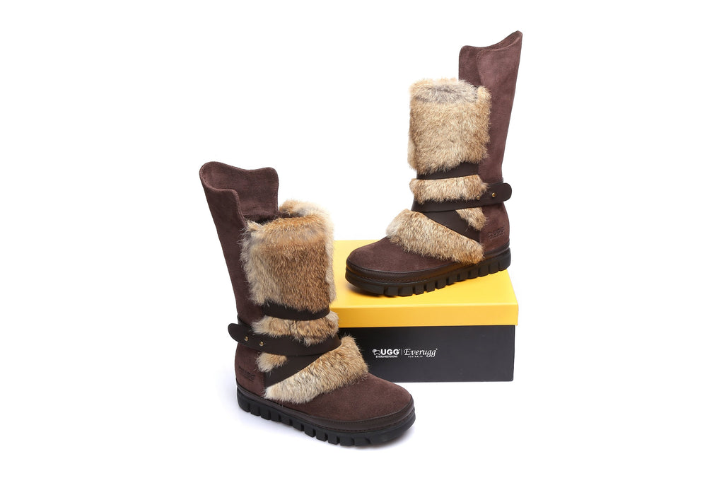 596b4af37db UGG Ladies Tall Buckle Boots - Avery Cow Suede Rabbit Fur Sheepskin  Lining&Insole Water Resistant