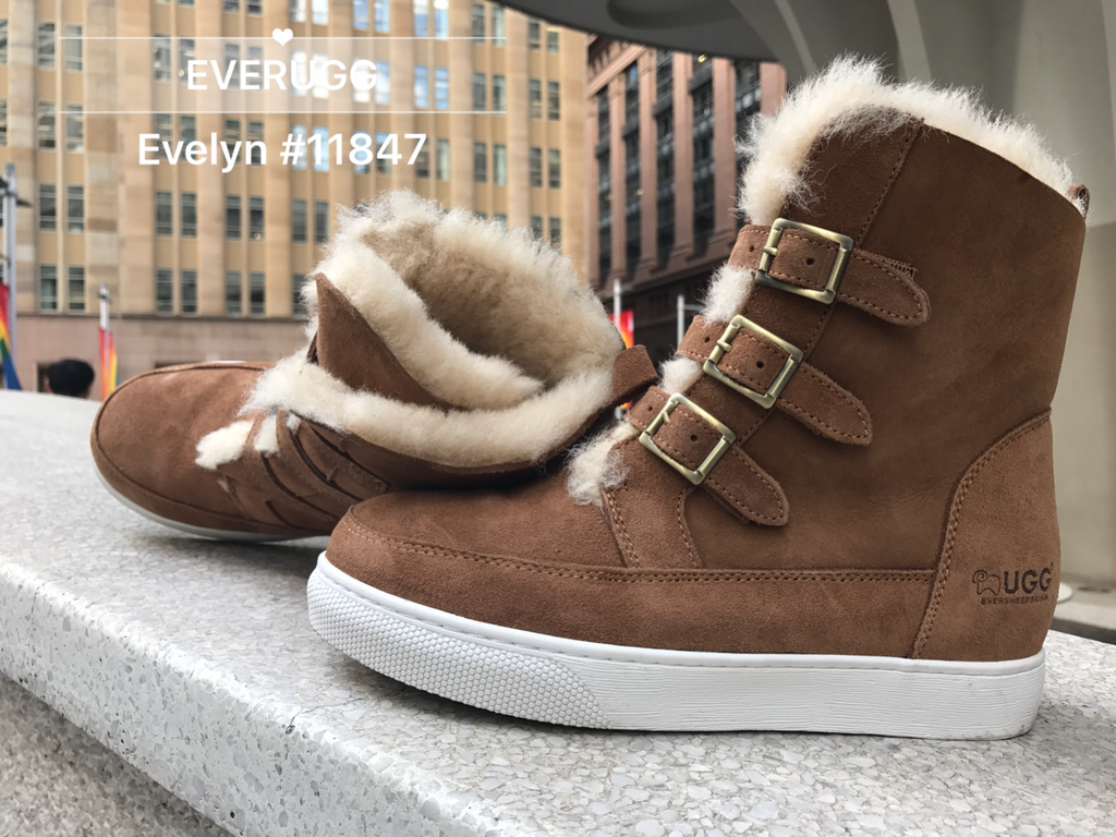 d4b660b1e67 UGG Ladies Fashion Hidden Heel Boots - Evelyn Triple Buckle Belt Premium  Australian Sheepskin Lining