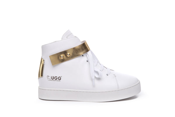 UGG Kriss Ladies High Top Sneakers Cowhide Leather Upper Flats Lace-up Trainers Walking Shoes - UGGs Boots Australia