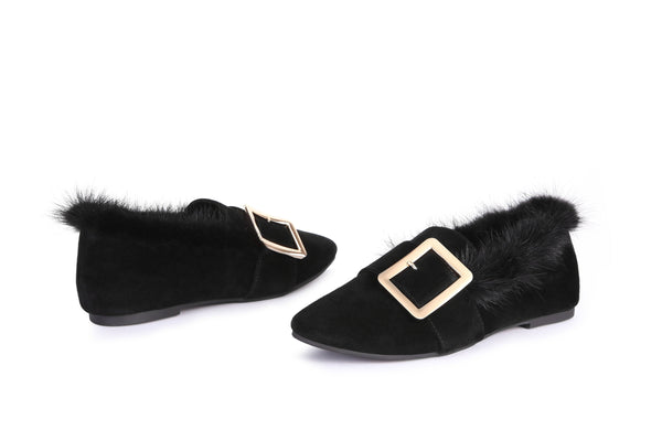 UGG Fashion Women Sheepskin Shoes Mia - Casual Square Buckle Moccasins Loafers - UGGs Boots Australia