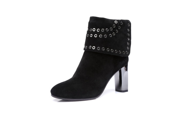 UGG Ladies Fashion High Heel Boots Tiffany - Kid Suede Sheepskin Lining Metal Eyelets Water Resistant - UGGs Boots Australia