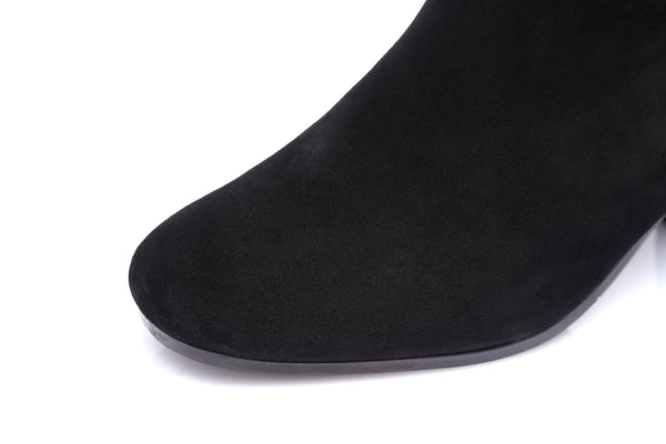 EVER UGG Ladies Fashion Heel Boots Grace, Sheepskin Lining&Insole Kid Suede Water Resistant Back Zip - UGGs Boots Australia