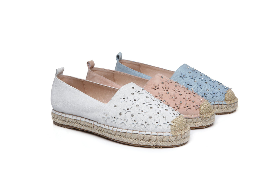 d5817088b39 UGG Starry Ladies Rivet Star Flats Loafers Casual Slip-on Shoes, Low-Top  Canvas Outside