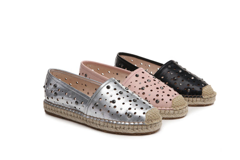 b6dc349d4b2925 UGG April Ladies Rivet Cut Out Hole Comfortable Flat Slip On Loafer Shoes