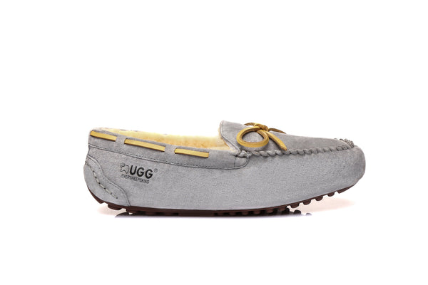 UGG Ladies Classic Lace Moccasins Loafer Flats, Water Resistant Australian Sheepskin Non Slip Rubber Sole - UGGs Boots Australia