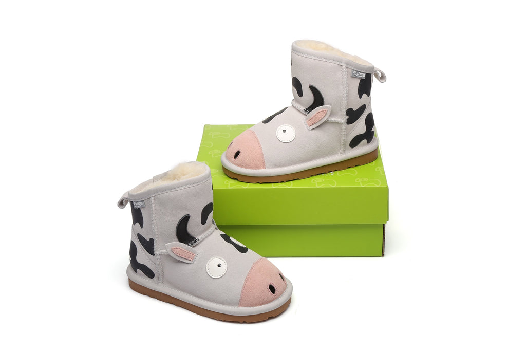 UGG Kids Boots Cow - Cowhide Upper Australian Sheepskin Lining Water Resistant - UGGs Boots Australia