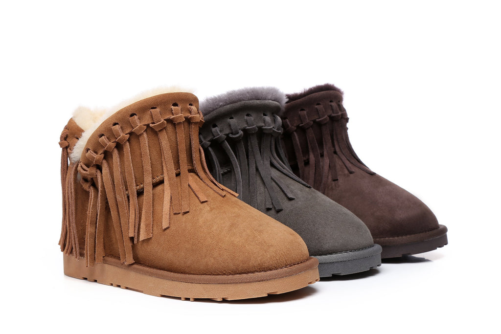UGG Boots - Ada Fringe Suede Mini Ankle Boots, Australian Sheepskin Lining & Insole ...