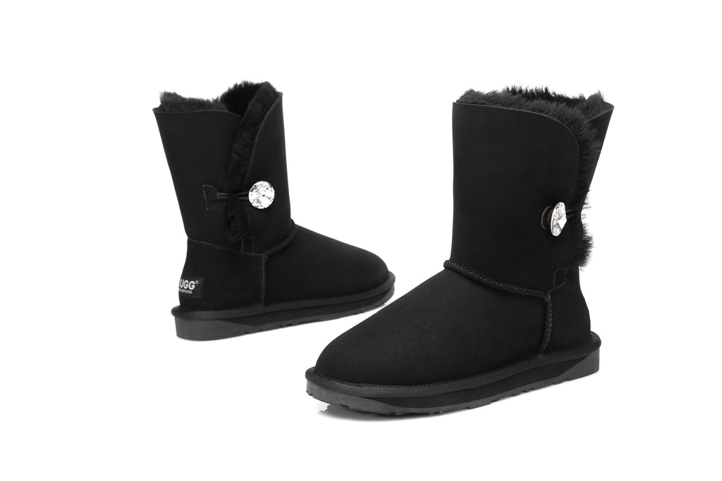 3a760b91979 UGG Boots - Ladies Water Resistant Short Button with Crystal