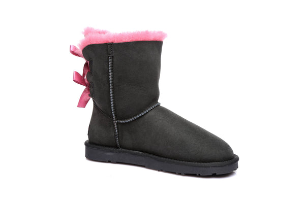Short back bow fruit UGG Boots, Genuine Sheepskin, Non Slip Rubber Sole - UGGs Boots Australia