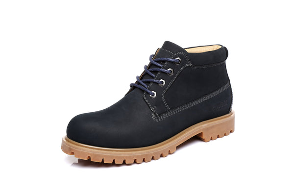 UGG Mens Nubuck Leather Boots - Angus, Formal Work Causal lace-up Shoes, Sheepskin Lining - UGGs Boots Australia