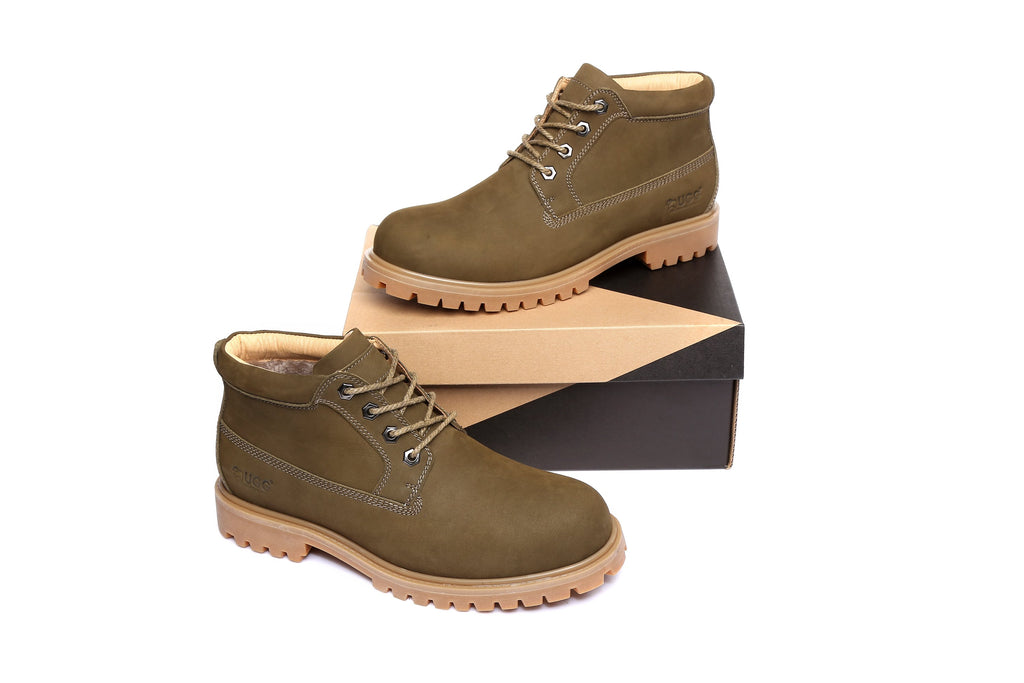 7137b4271f2 UGG Mens Nubuck Leather Boots - Angus, Formal Work Causal lace-up Shoes,  Sheepskin Lining