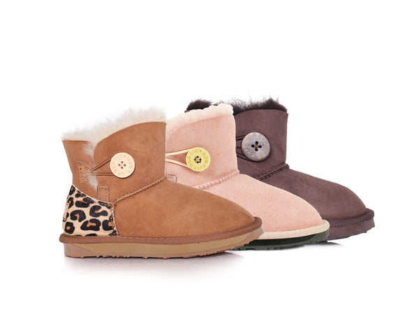 Australian Shepherd Kids UGG Boots  - Child Mini Button, Australian Sheepskin, Non-Slip - UGGs Boots Australia