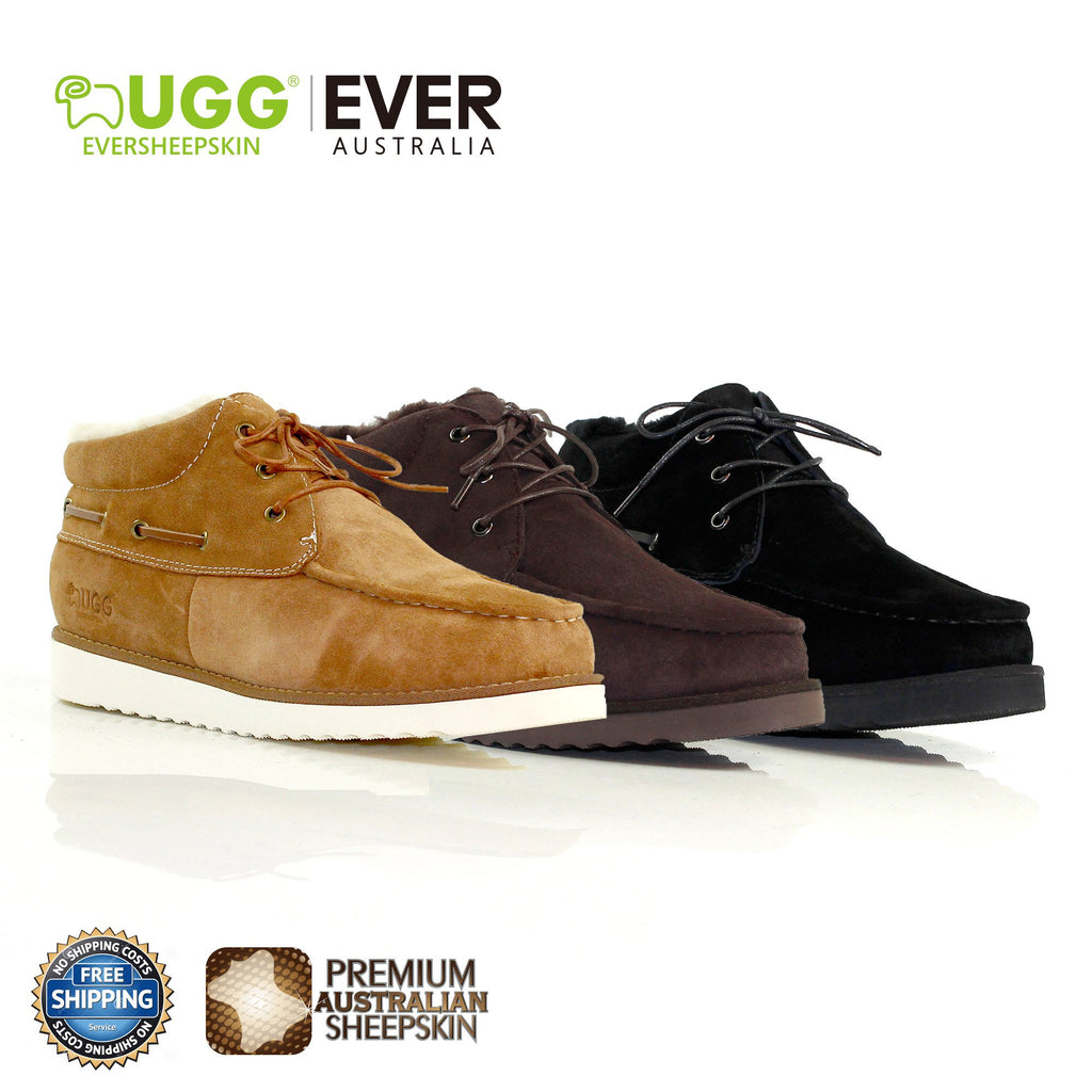 48642b36cc4 UGG Men Ankle Boots Lucas Cow Leather Upper Sheepskin Lining High ...