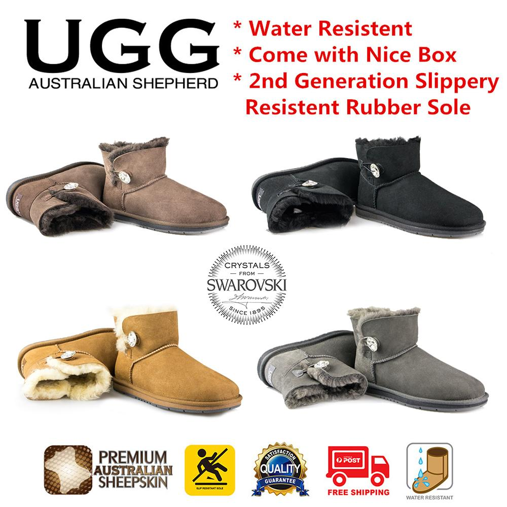 89bb99b73e4 UGG Boots Mini Classic with Crystal Button Australian Sheepskin,Water  Resistant